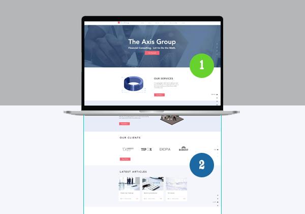 يوضح الشكل أعلاه مفهوم الشاشة الأولى أو الجزء العلوي من الصفحة وهو أول ماتقع عليه عين الزائر عند زيارة الموقع