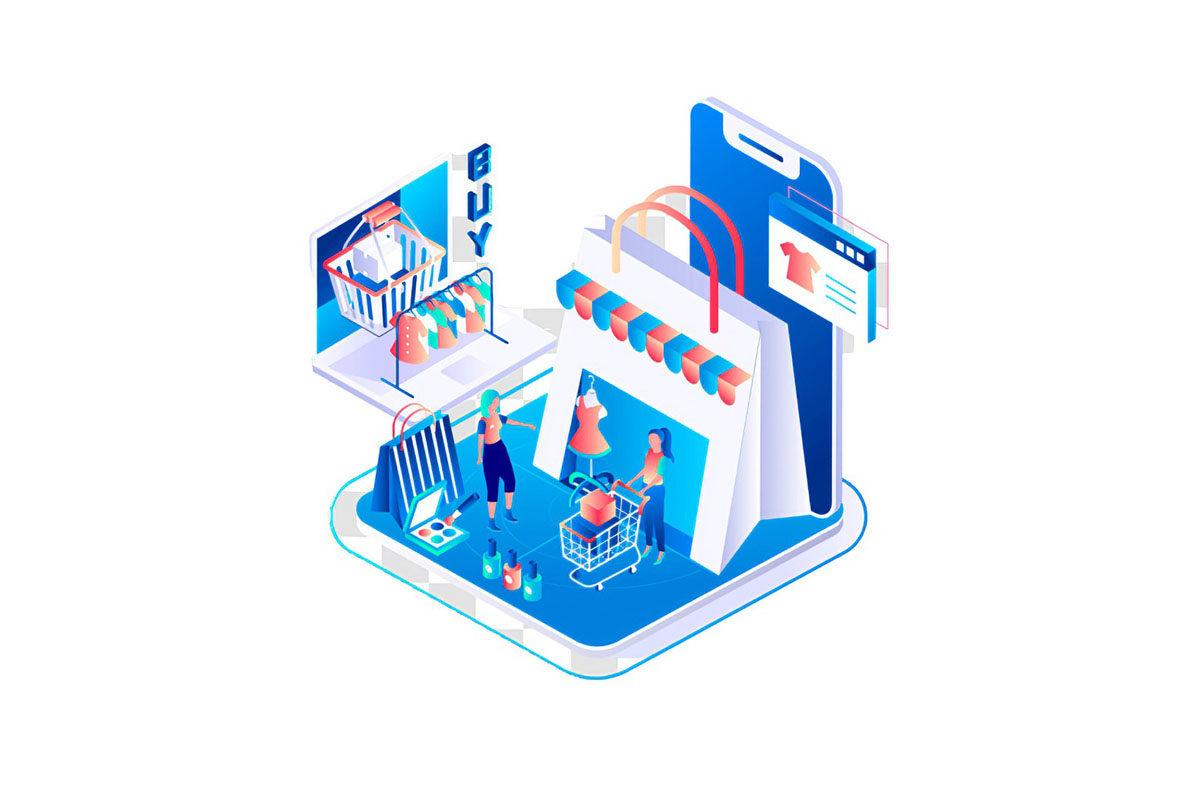 صورة رمزية للمتجر الالكتروني وخدمات التسوق عبر شبكة الإنترنت عبر المتاجر الإلكترونية
